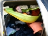 Hammock in the Van. Cozy!