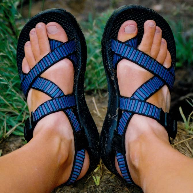 Going for a new tan line. My first pair of chacos over my Teva tan. Circa May 2001.